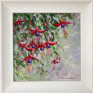 Original painting of fuchsias for sale. Floral art for your home or would make a wonderful gift for any occasion
