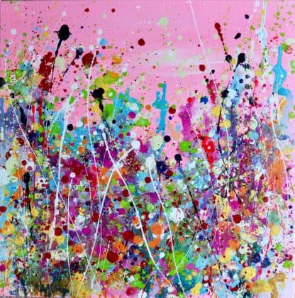 I Feel Like Celebrating, contemporary abstract floral painting, pink art, new builds, modern homes, gift ideas,