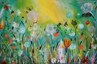 Stunning floral painting for sale in online art gallery. Original bright and colourful art for your home or gift to someone special