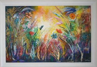 Large bright and colourful floral painting for sale in Irish online art gallery. Browse a large variety of art for sale here