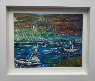 Original painting of a sunset over the sea with sail boats. Stunning art for your home. Gift ideas of art for any occasion