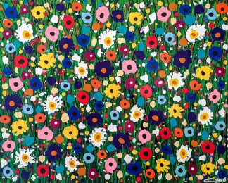 Large floral painting for sale in online gallery. Bright and colourful painting to brighten up any room. Exceptional art
