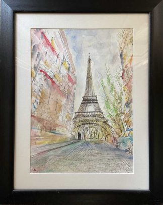 Original abstract painting of Paris, France. Stunning art for your home or would make a great gift idea for couples who got engaged in Paris