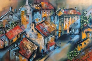 Quiet Evening Original painting of houses on a street. Abstract art by Jelena Straiziene. Quality art for your home for sale in online gallery