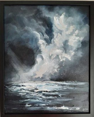 Abstract seascape painting for sale in online gallery. Stunning piece of art for the home. Framed and ready to hang