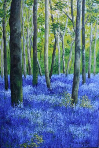 Original painting of bluebells under trees in the forest. Stunning quality art for your home. Gift ideas for someone hard to buy for