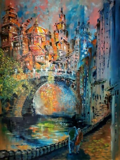 Large original street scene / architectural painting. Exceptional quality art for your home. Stunning colours