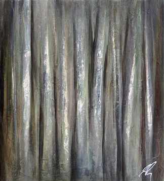 Moody, monochromatic abstract forest painting with heavy textures and subdued tints of colour. Board edges are painted black.