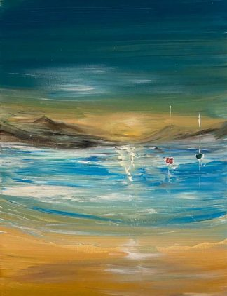 Golden Hour Original abstract seascape painting for sale in online gallery by Irish artist. Stunning art for any room in the home