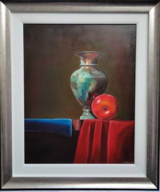 Still life painting of copper pot and apple for sale in online gallery. Painting is framed and ready to hang- free postage within Ireland