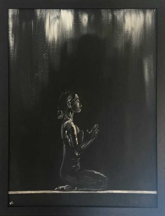 Original painting for sale, a figure poses in black black and white. Art for the home, new builds, office etc
