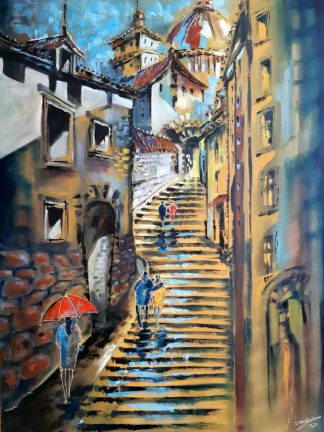 Original architectural street scene painting for sale in online gallery. Stunningly beautiful art for your home. Browse a huge variety of art