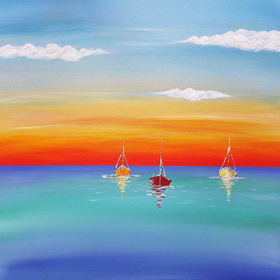 Original seascape painting for sale in online gallery. Vibrant and bright colours to make any room fresh and alive