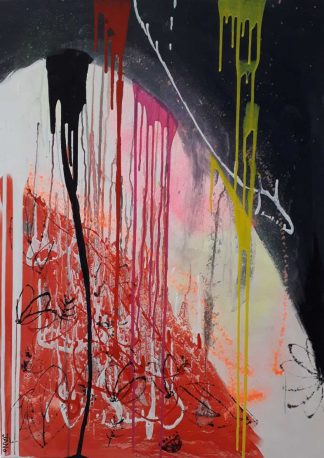 Large feature painting with bright colours against matt black, white, and red backdrop. This artwork is in an on-trend retro eighties theme.