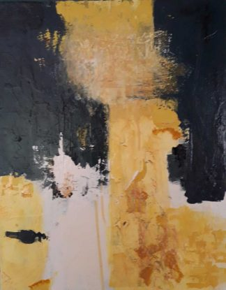 Classic abstract painting in navy, yellow, golden and ivory tones. Original painting for sale, gift ideas, online shopping for art