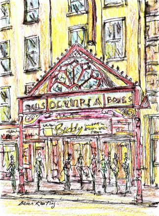 Original street scene architectural art for sale in online gallery. Irish art, paintings of Dublin, The Olympia Theatre