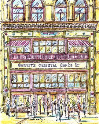 Original watercolour & ink painting of the famous Bewleys Cafe Dublin, by Irish artist. Great gift idea, Irish art for the home