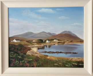 Original Irish art at by Irish artist. Beautiful land/seascape painting for sale in online gallery. This painting is framed- ready to hang