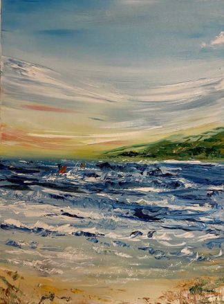 Original abstract seascape painting of surfers in Co.Donegal. Irish art by Irish artist, art for the home, gift ideas