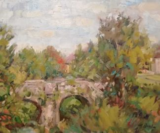 Original painting of Bridge on the Dodder at Milltown by Irish artist Norman Teeling. Irish art for your home, gift ideas, collectors items