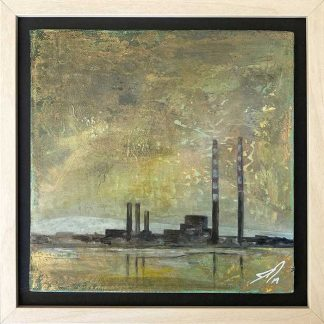 Original piece of art. Painting of Poolbeg chimneys by Irish artist. Art for the home or office, framed and ready to hang