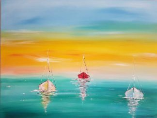 Original seascape painting for sale in online gallery. Stunning bright and uplifting art for your home, gift ideas