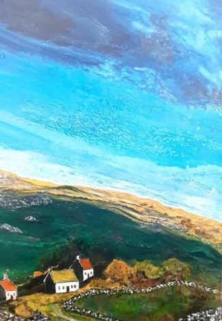 Original Irish art by Irish artist. Painting of cottages in the Burren. Great gift idea or art for your own home