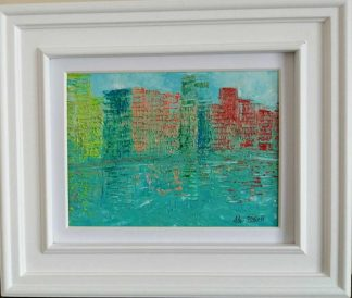 Original abstract cityscape painting for sale in online gallery by Irish artist. Framed art ready to hang in your home