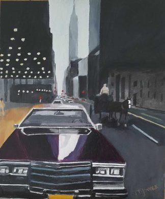 Original street scene cityscape painting of a horse and cart in NYC. Art for the home or office, special gift ideas