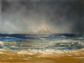 Original seascape painting by Irish artist for sale in online gallery. Painting of two islands in the sea.