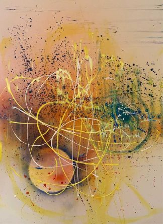 Original abstract painting with different yellow tones to brighten up a dull wall or room. Irish artist, art for the home