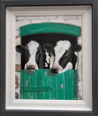 Original painting by Irish artist. Two cows in a shed before being milked. Gift ideas for farmers, dads, grandads, cow lovers