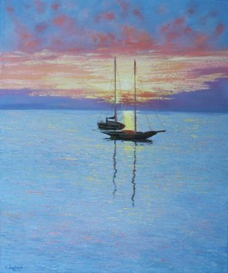 Stunning painting of a sailing boats. Original art for your home. Gift ideas, homemade gifts for loved ones