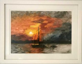 Original painting of sunset over the sea for sale in online gallery. Browse a large selection of art for the home here. Gift ideas