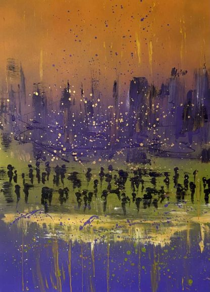 Original abstract painting for sale in online gallery by Irish artist. Add a splash of colour to your home