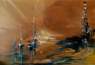 Original abstract sunset painting for sale in online gallery. Exceptionally stunning art for the home, wall art
